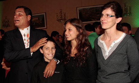 Correa with his children, Miguel and Anne, and wife, Anne Malherbe. Photograph: EPA